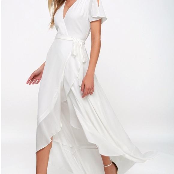 Lulus Magic Moment White Wrap Maxi Dress